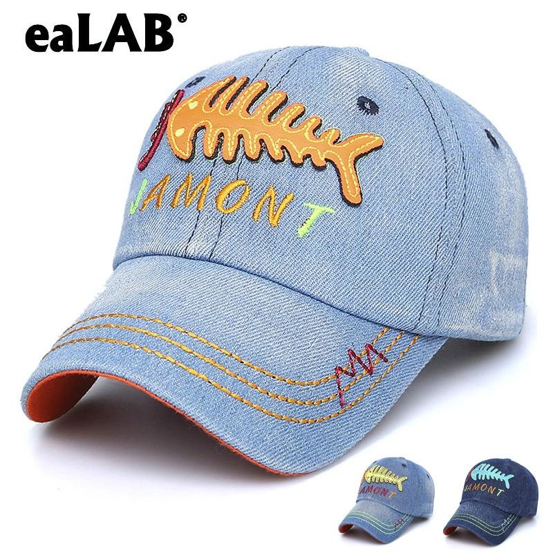 54748fa0053f4 EaLAB Baseball Cap For Children Boy Dad Hat Girl Sports Casual Cap Fish  Skeleton Embroidery Bones Bend Visor Baseball Fitted Flat Brim Hats Baby Cap  From ...