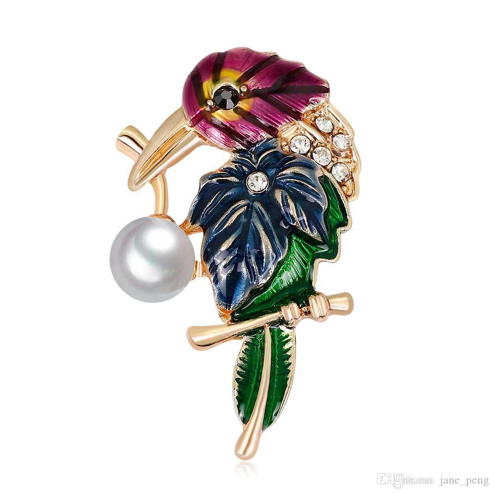 40cd9125f 2019 Elegant Crystal Pearl Enamel Brooches Pin For Women Men Clothes Scarf  Bag Broach Fashion Party Jewelry European Style Parrot Bird Wholesale From  ...