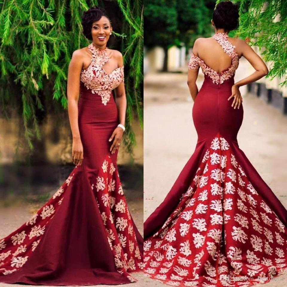2018 Mermaid Burgundy Evening Dresses with Gold Lace Appliqued High Neck African Prom Dresses Court Train Women Formal Party Gowns BA7749