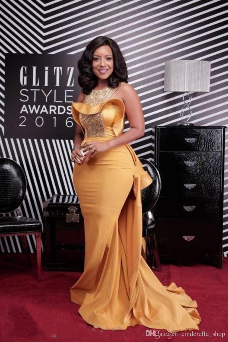 Gold Mermaid Abendkleider 2018 Juwel Sweep Zug Pailletten lange formale Abschlussball-Partei-Kleider roten Teppich Kleid Celebrity Wear Plus Größe