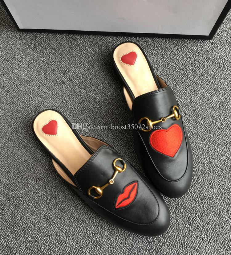 Designer luxury Women Summer Princetown Lace Velvet Slippers Mules Loafers Genuine Leather Flats With Buckle Bees Snake Pattern With Box