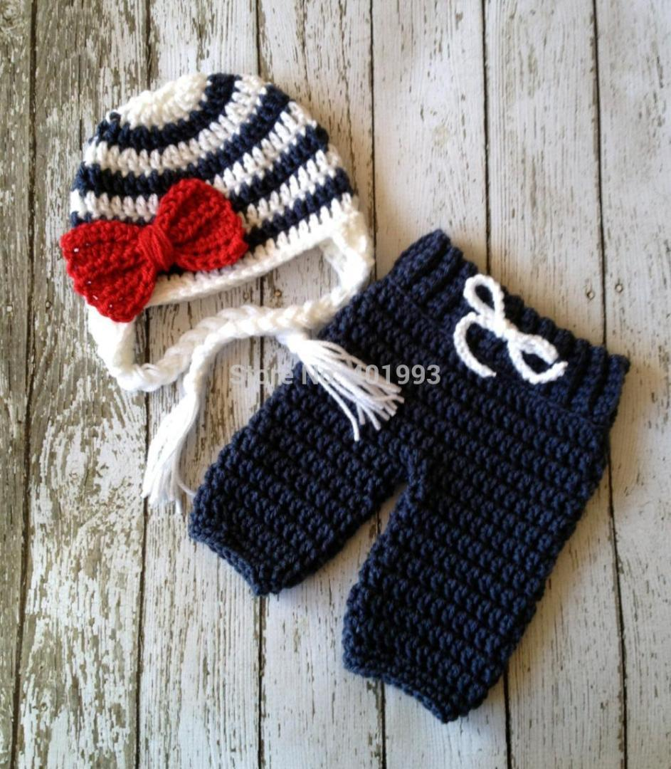 2019 Sailor Style Baby Hat And Pants Handmade Crochet Photography
