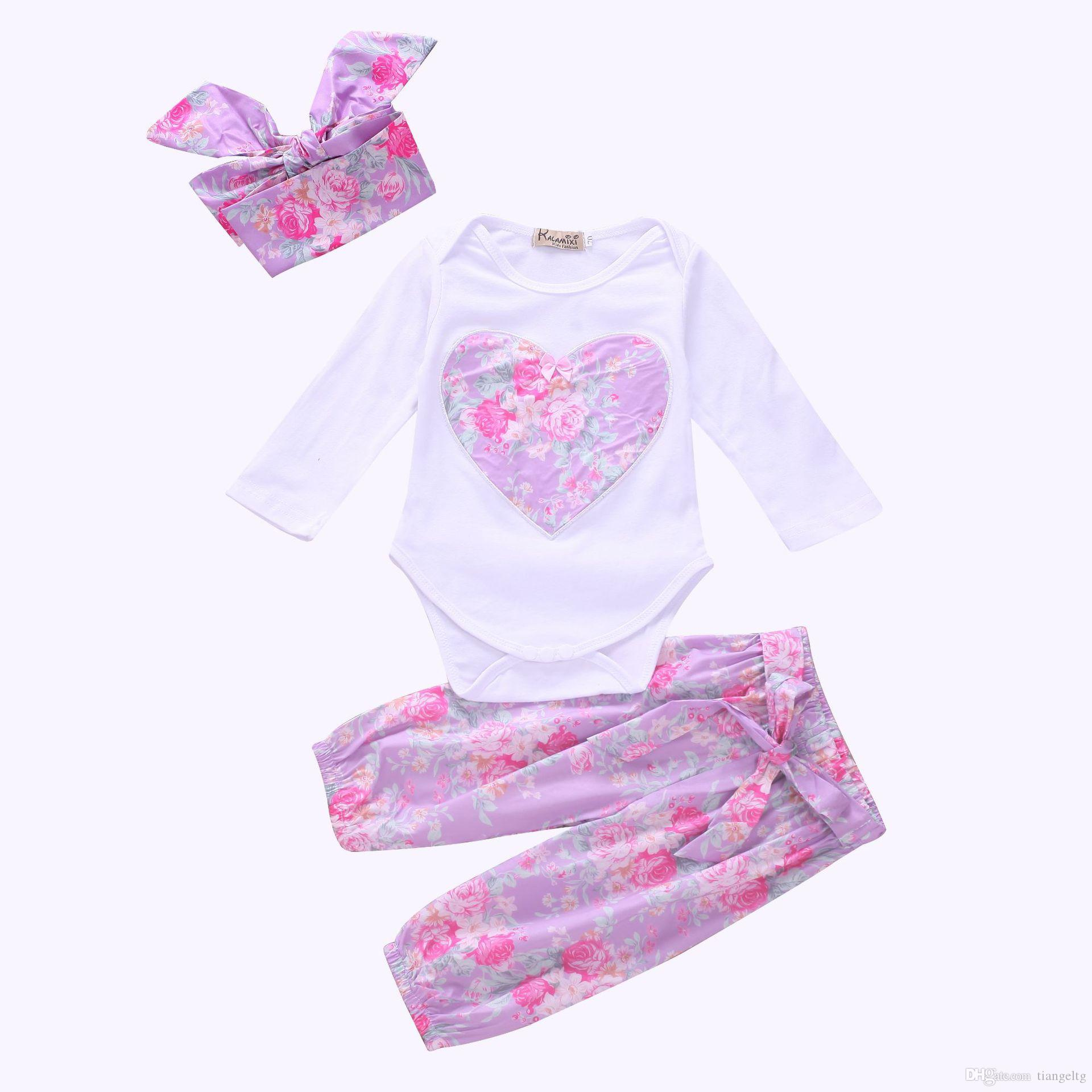2fab671f313 2019 Girls Purple Heart Three Piece Clothing Sets Floral Romper Hairband  Pants Baby Girls Autumn Suit 100% Cotton 0 24M From Tiangeltg