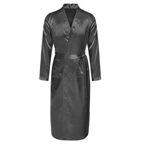 Gray Men Rayon Robes Gown 2018 New Quality Male Kimono Solid Color Long  Sleeve Sleepwear Nightwear With Belt S M L XL XXL JA18 Male Kimono Kimono  Male Robe ... 33d0b1b9b