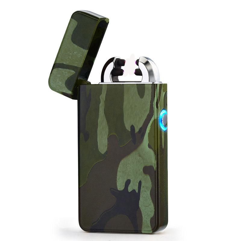 New hot 2018 Arc Lighters metal USB Rechargeable Flameless Electric Arc Windproof Cigar Cigarette Lighter Cross Double Pulse Slim Lighter