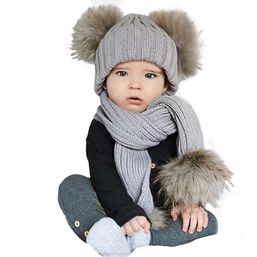 07452b5ba759a Hot sale Baby Cute Winter Keep Warm Set Kids Baby Hat+Scarf Newborn Boys  Girls Ball Knit Bobble Beanie Hat Winter Ski Cap