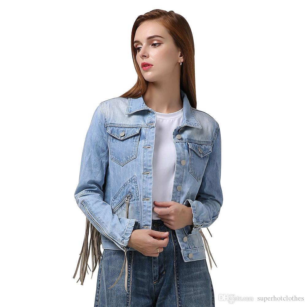 Denim Jacket For Women Tassel Long Sleeve Zipper Bomber Jackets