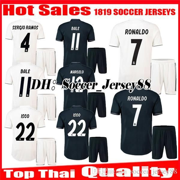 1fee1d4bc 2018 2019 Real Madrid Home Kits Soccer Jersey 1819 RONALDO BENZEMA ...