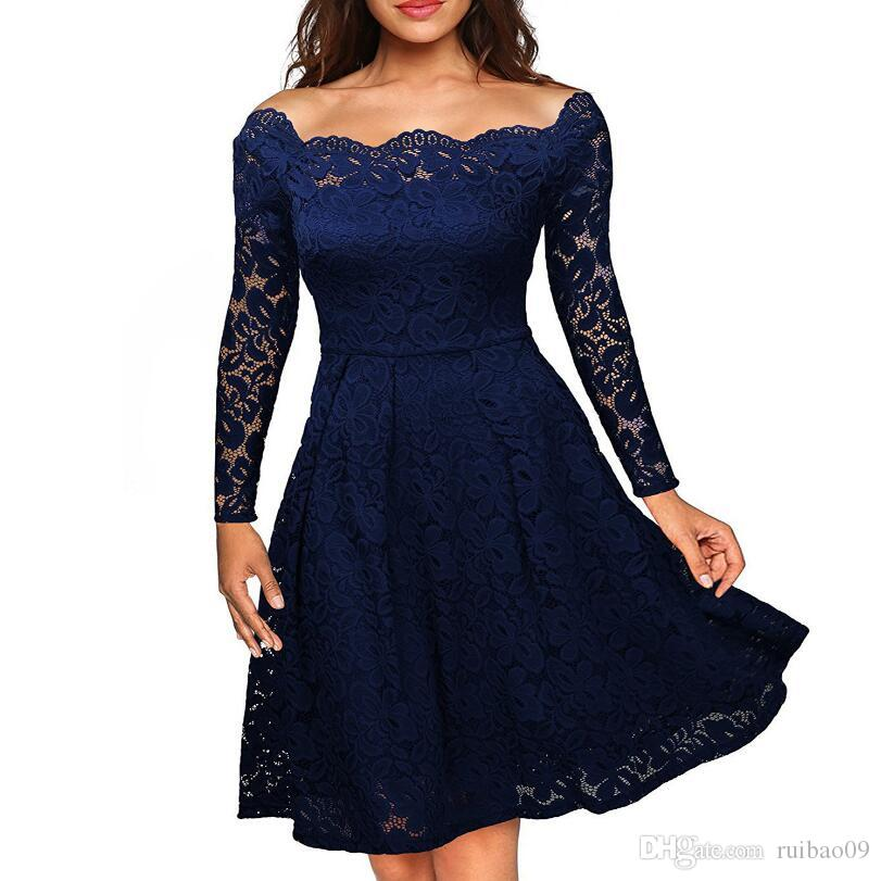 d52ce8bae7 2019 Robe Femme Embroidery Vintage Lace Dress Women Off Shoulder Dresses  Long Sleeve Casual Evening Party A Line Plus Size Dress From Ruibao09
