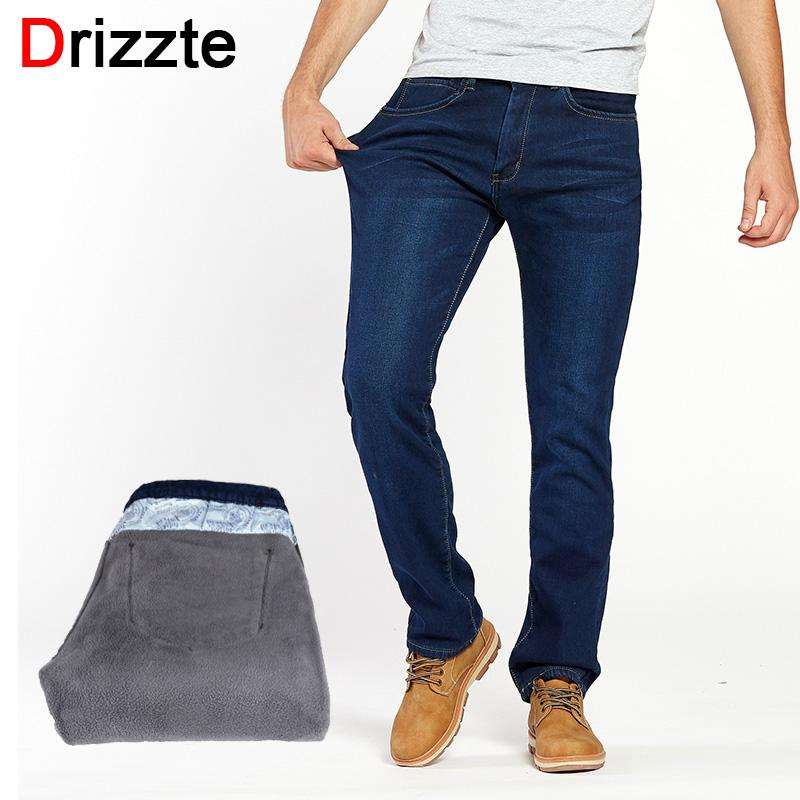 fd9439a98330 2019 Drizzte Winter Thermal Warm Flannel Lined Stretch Jeans Mens  Comfortable Fleece Pants Trousers From Honry, $55.48 | DHgate.Com