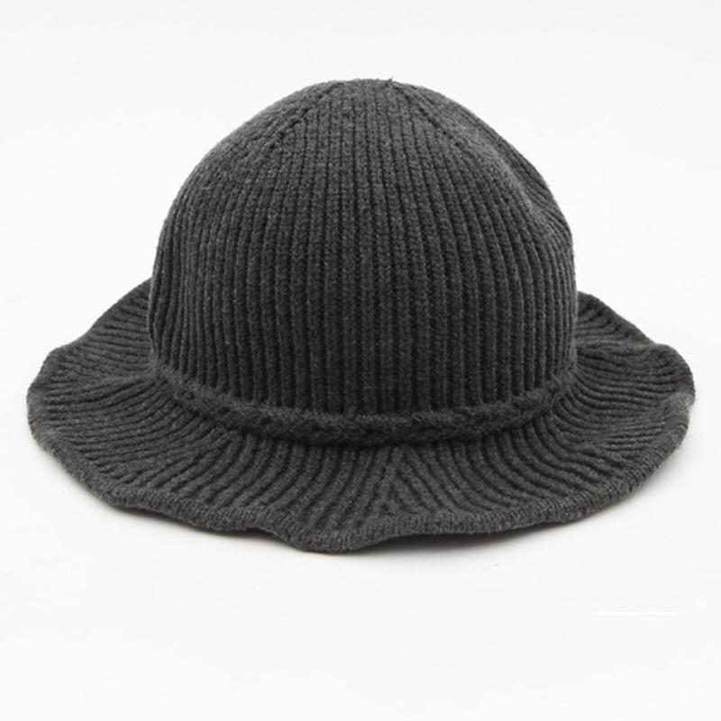 Winter Knitted Hat Female Black Bucket Hats For Women Ladies Knit Felt Cap  Wedding Hats Baby Hats From Rainbowwo 4bc414b212f