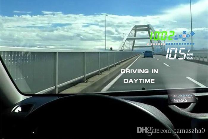LONGFENG A3 3.5 inç Araba HUD HEAD Up Display OBD II Arabirimi Gerçek zamanlı Dinamik Hız Gerilim Sürüş Mesafe / Zaman Monitör
