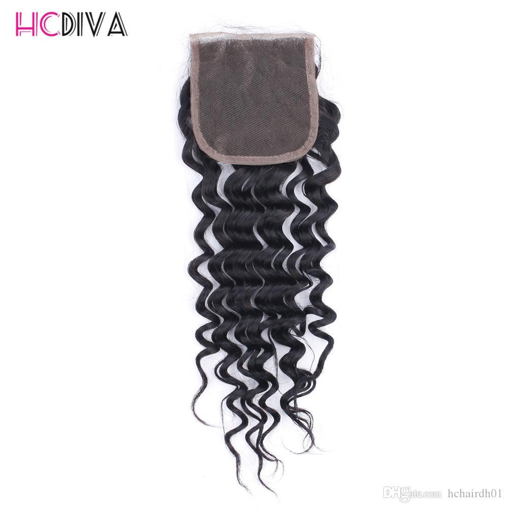 딥 웨이브 헤어 상단 인간의 머리카락 묶어 무료 부 3와 함께 번들 4 * 4 레이스 폐쇄 페루 인간의 머리카락 확장 HCDIVA