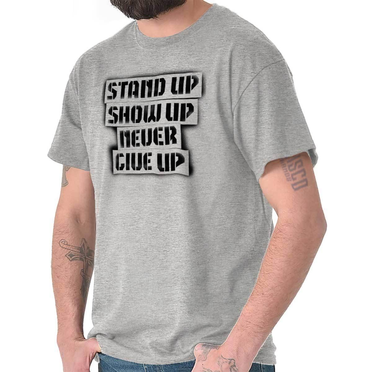 59f09e653b Stand Up Show Never Give Up Cool Gift Cute Workout Gym Edgy T Shirt Tee  Funny Unisex Casual Tee Gift Buy Tees Funniest T Shirt From Shirt_monkey,  ...