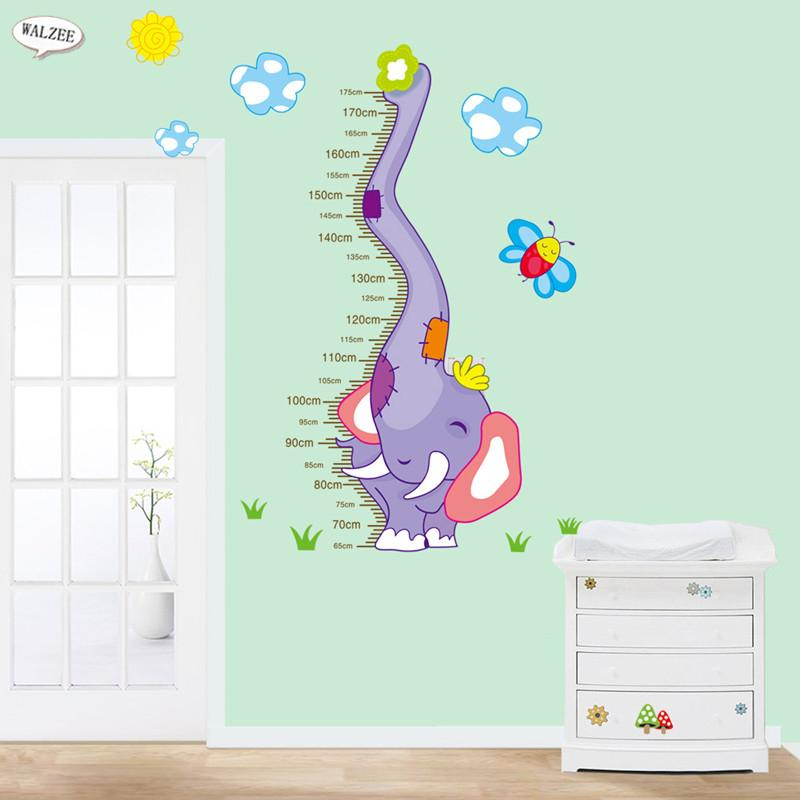 Cute Elephant Water Spray Wall Sticker Kids Baby Girl Boy Nursery Room Decoration Height Chart Stickers Height Ruler Stadiometer