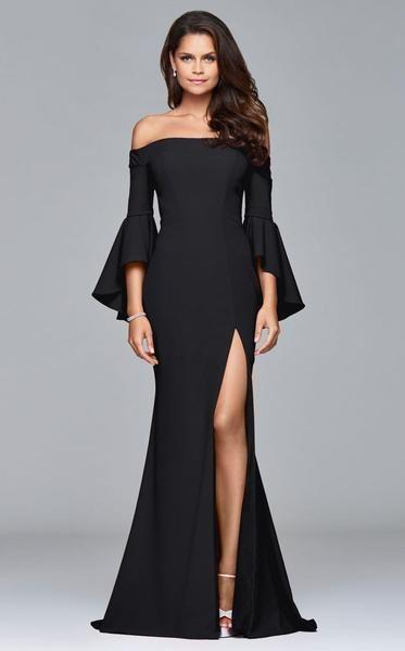 61a6e1bf0661 2019 2018 Winter Party Dress Elegant Off Shoulder Slim Flare Sleeve Long  Maxi Dress Women High Split Floor Length Sexy Evening Dress Black Robe From  ...