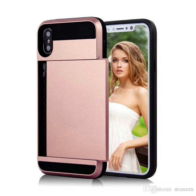 Slide Card Holder Case For iPhone X Xr Xs Max 7 8 Plus 6 6S 5 5s SE Shockproof Back Cover With Card Pocket PC + TPU Shell