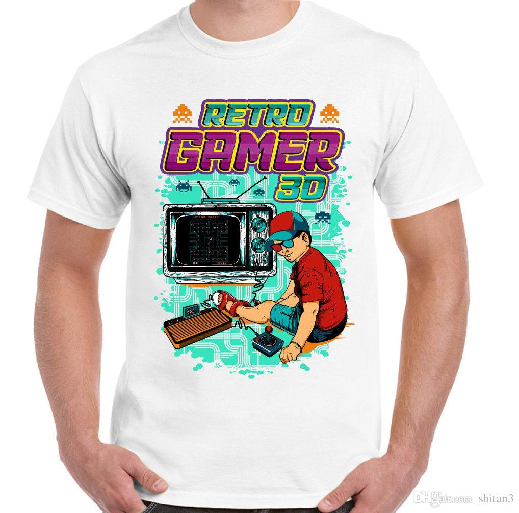 Retro Gamer Mens Funny Gaming T-Shirt ZX Spectrum Commodore 64 PC Console PC