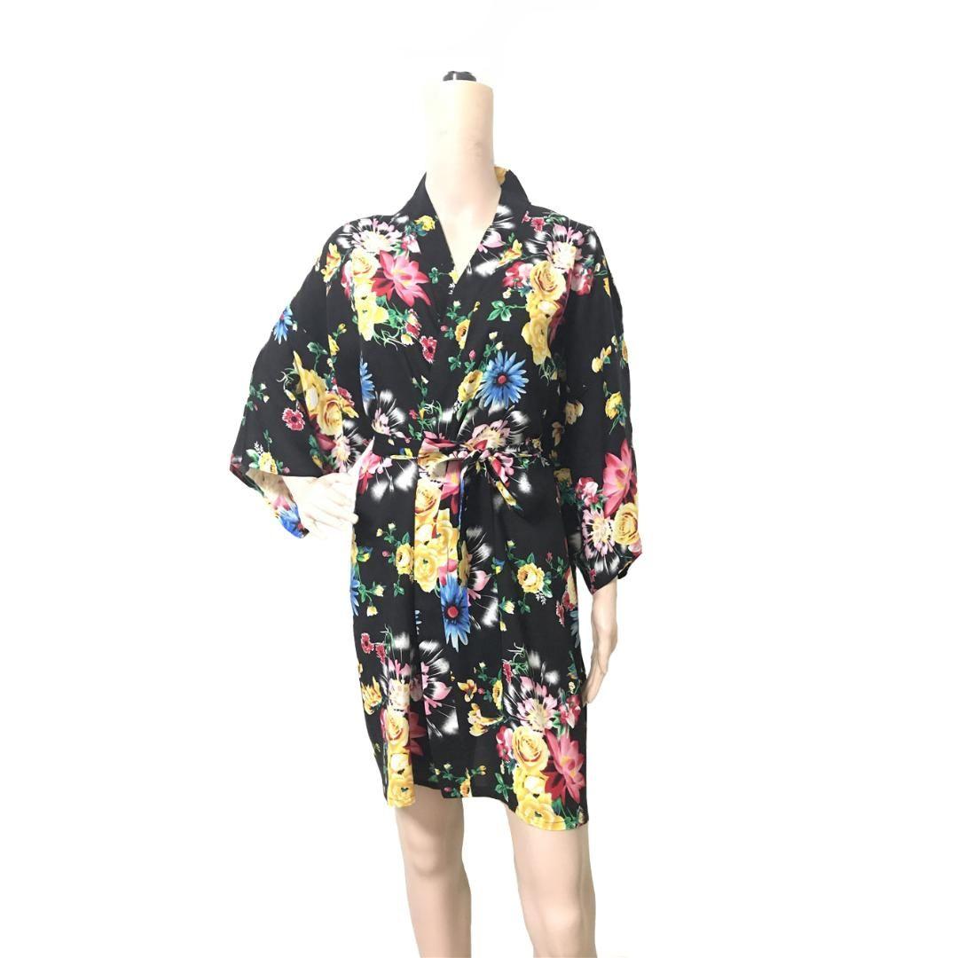 8939b7e9dd79 Mulheres verão quimono roupão de banho de algodão sleepwear camisola flor  noiva spa de casamento robe nightwear sexy gueixa para casa dress