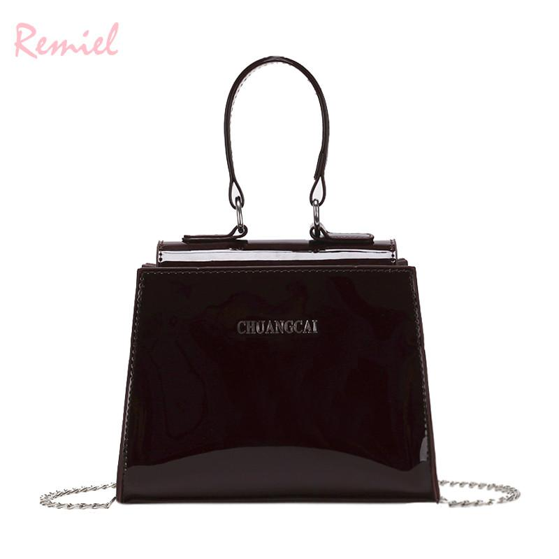 f6beca2b6e9 Women s Designer Handbag 2018 New High-quality Glossy Patent Leather Women  Chain Shoulder Messenger bag Ladies Small Tote bags