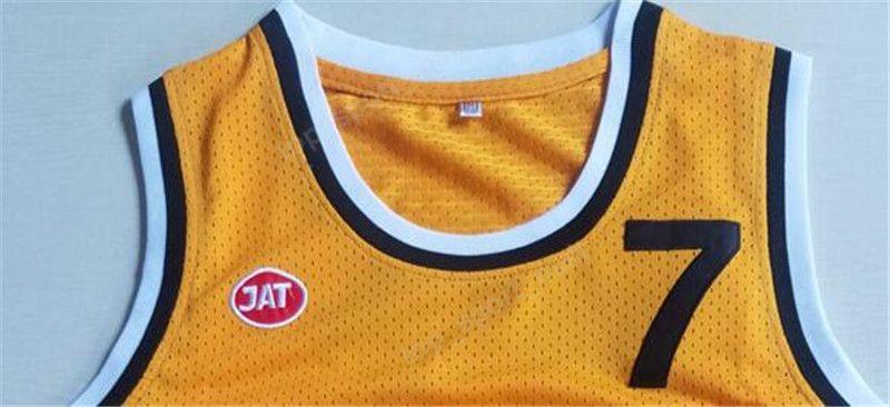 Uomini Moive Toni Kukoc Jersey 7 Giallo Basket Jugoplastika Split Pop Maglie Tutto Cucito Gli Appassionati di Sport Traspirante Spedizione Gratuita