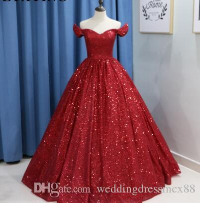 2eef48a9 Glitter Wine Red Sequins Ball Gown Wedding Dress Luxury 2018 Dubai Burgundy  Colorful Wedding Gowns Lace Up Arabic Bride Dresses Black Formal Dresses  Cheap ...