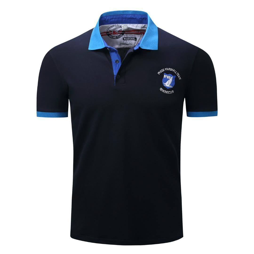 d58cc73423edb Compre Camisa POLO De Algodón Para Hombres Casual Azul Oscuro Marca De Rosa  Ropa De Hombre Moda Nueva Camiseta De Manga Corta Polo De Verano Tops A   32.62 ...
