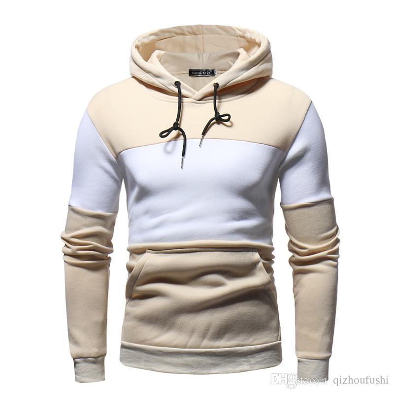4e0f48a592 Abbigliamento moda 2018 commercio estero nuovo maglione di cucitura degli  uomini in pile set testa colore corrispondenza maglione casual comfort  sport ...