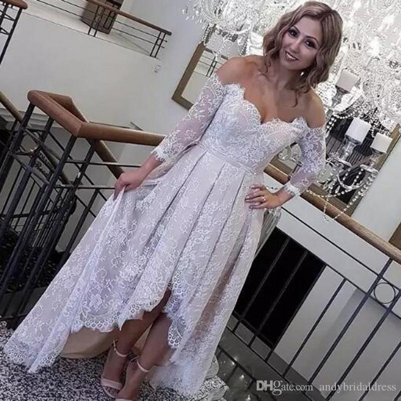 Discount Retro Lace High Low Wedding Dresses 2018 Off The