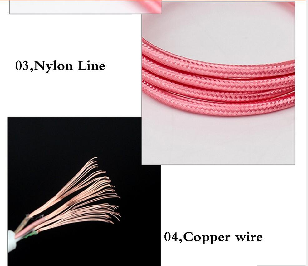 1M 3FT Metal Unbroken Fabric Braided Audio Aux Car Extension Cable 3.5mm male to male For Headphone ,Speaker , cellphone ,computer