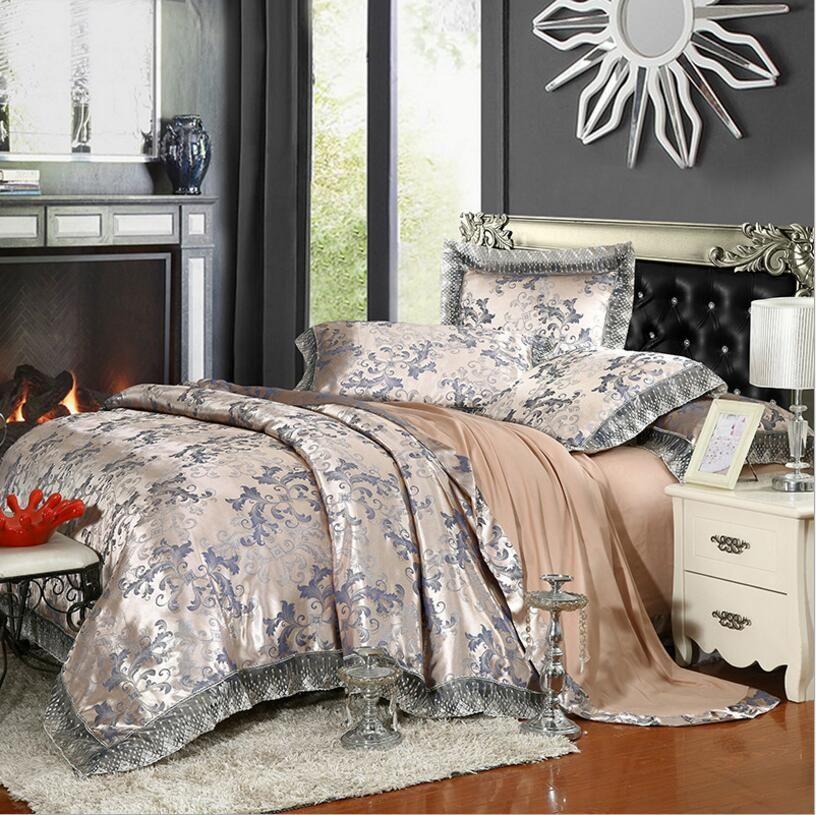 Золотой серебряный кофе жаккардовый роскошный постельное белье Set Queen / King Size Pake Set 4/6 шт. Хлопок Шелковый кружевной подоюзные наборы комплекты простыня дома текстиль