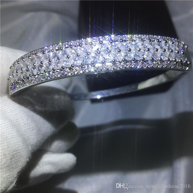 Leaves Design bracelet Pave setting Diamond S925 Silver Filled Anniversary bangle for women wedding accessaries