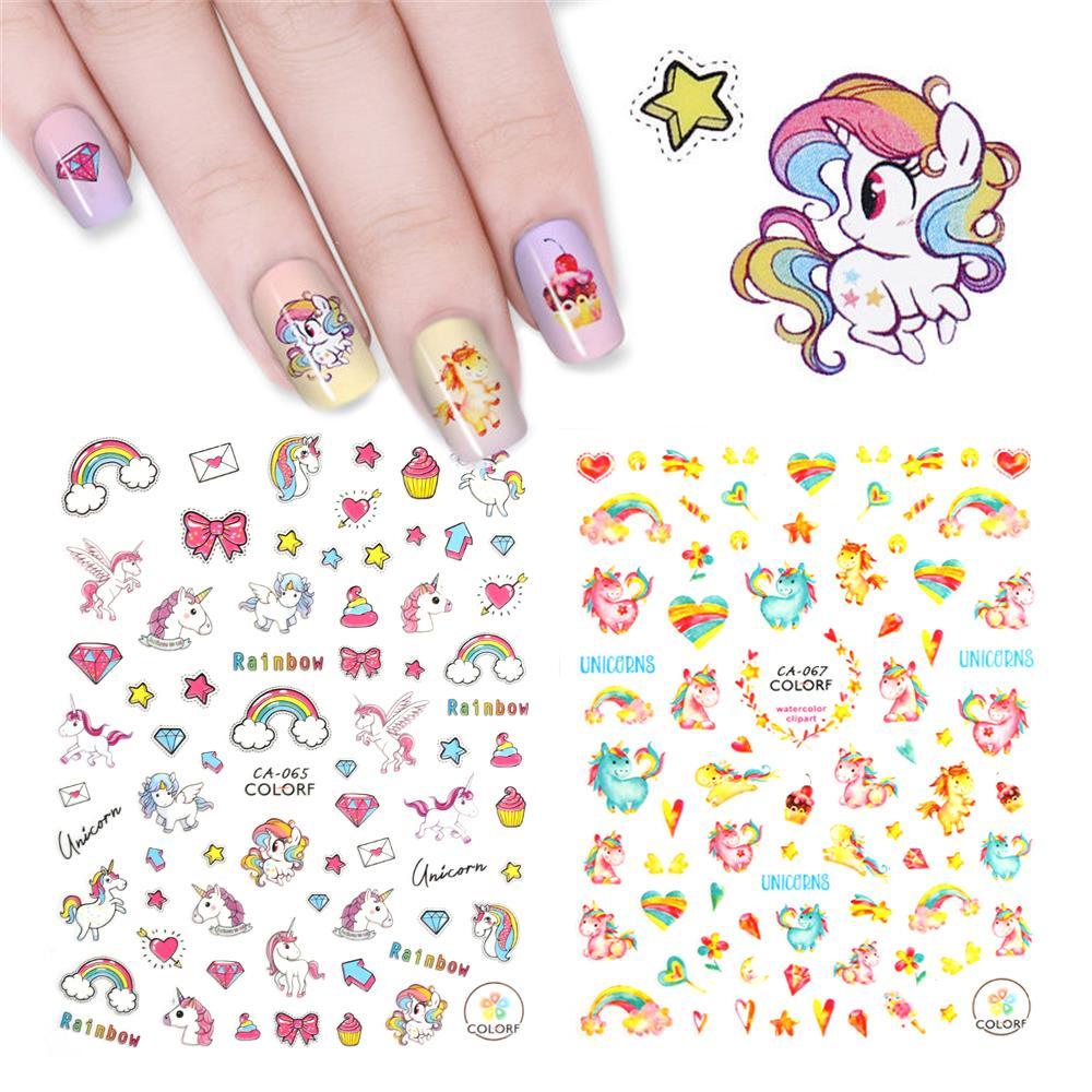 1 Sheet Cutefashion 3d Unicorn Flamingo Nail Sticker Colorful