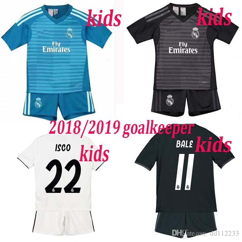 aaab10aea 2019 Real Madrid Kids Goalkeeper White Black Soccer Jerseys Kit Home ...