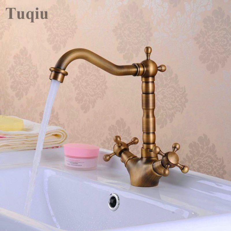 2018 Antique Brass Bathroom Sink Faucet 360 Degree Swivel Spout ...