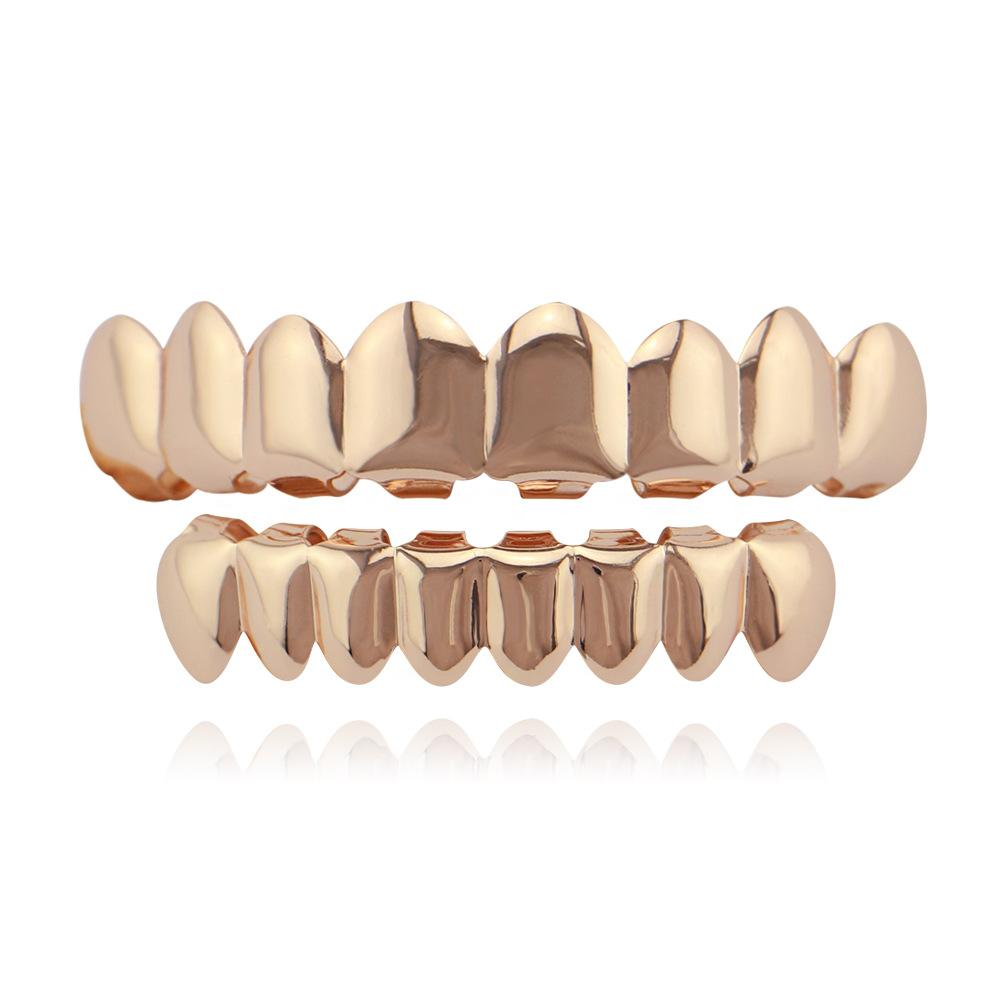 Dentes de Hiphop Grillz Gold Rose Gold Silver Plain Grills Set TopBottom Tooth Grillz Dental Dentes Caps Partido Jóia Do Corpo Presente de Natal