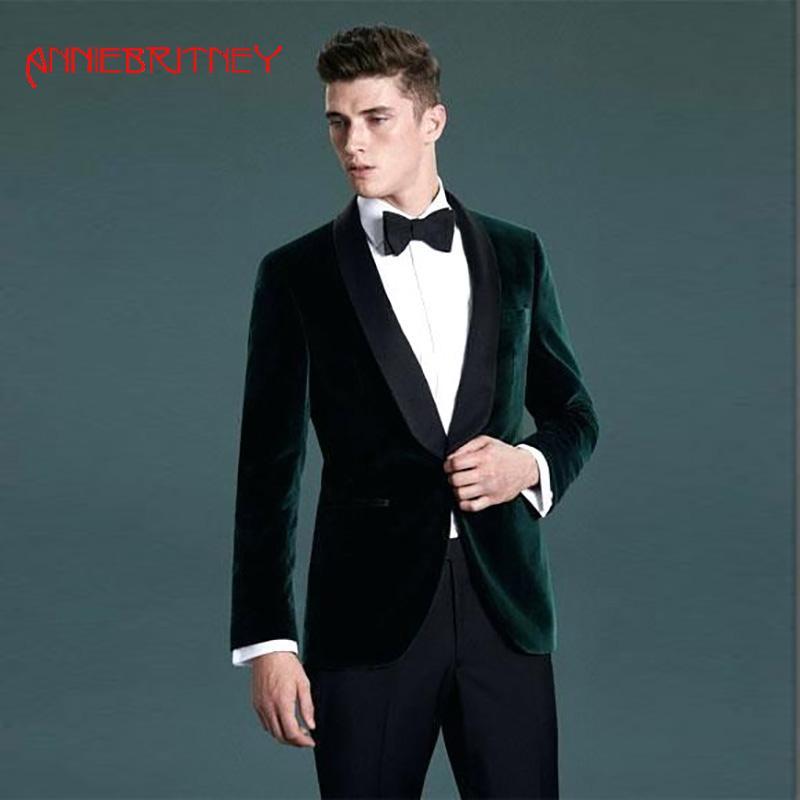 Acquista 2018 Verde Velluto Smoking Uomo Vestito Scialle Di Raso Di Raso Da  Sera Partito Personalizzato Giacca Sportiva Giacca Slim Fit Uomo Suit 2  Pezzo A ... 442bc9d76d6
