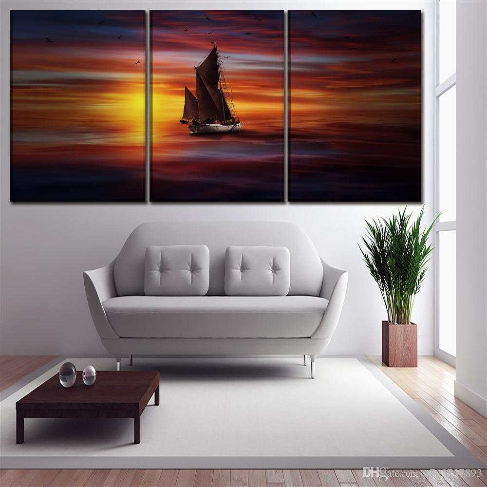 2019 Wall Art Framework Canvas Painting Living Room Sea Colorful Boat And Sunlight Landscape Picture Print Poster Home Decor From Z793737893