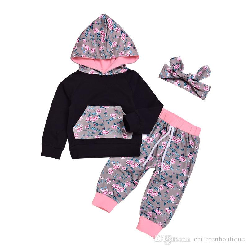 d10894475d41b 2019 Kids Girls Clothes Set Spring Autumn Children Clothing Cotton Baby  Clothing Suits Hoodies + Floral Pants + Headband Girls Outfits Set From ...