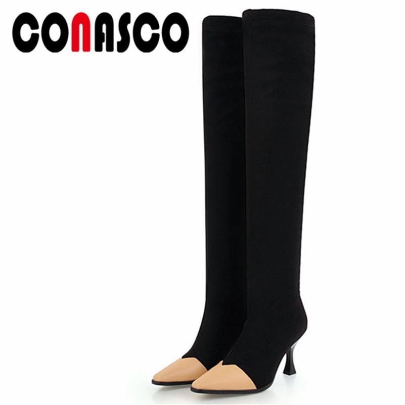 821c798c Compre CONASCO Nuevo 2019 Tacones Altos Por Encima De La Rodilla Botas  Altas Mujer Señoras Boda Zapatos De Vestir De Boda Estiramiento Botas De  Caballero A ...