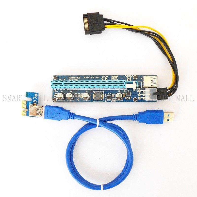 BTC Ver 008C Scheda di montaggio PCIe USB 3.0 da 60 cm PCI-E Express Scheda di espansione Extender da 1x a 16x Adattatore USB SATA Cavo di alimentazione blu-nero da 15 pin-6 pin