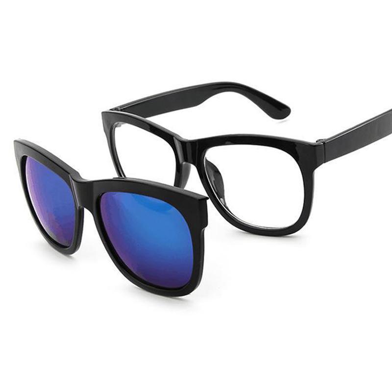 1333dcdf19 Compre Imán Clip En Gafas De Sol Clip En Gafas Cuadrado Lente Hombres  Mujeres Espejo Gafas De Sol Visión Nocturna Conducción Retro De Sol A  $20.59 Del ...