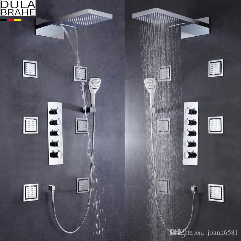 Shower Faucets Silver Dulabrahe Waterfall Bathroom Shower Mixer Faucet Set Wall Mounted Rain Bath Shower Head Tap Black