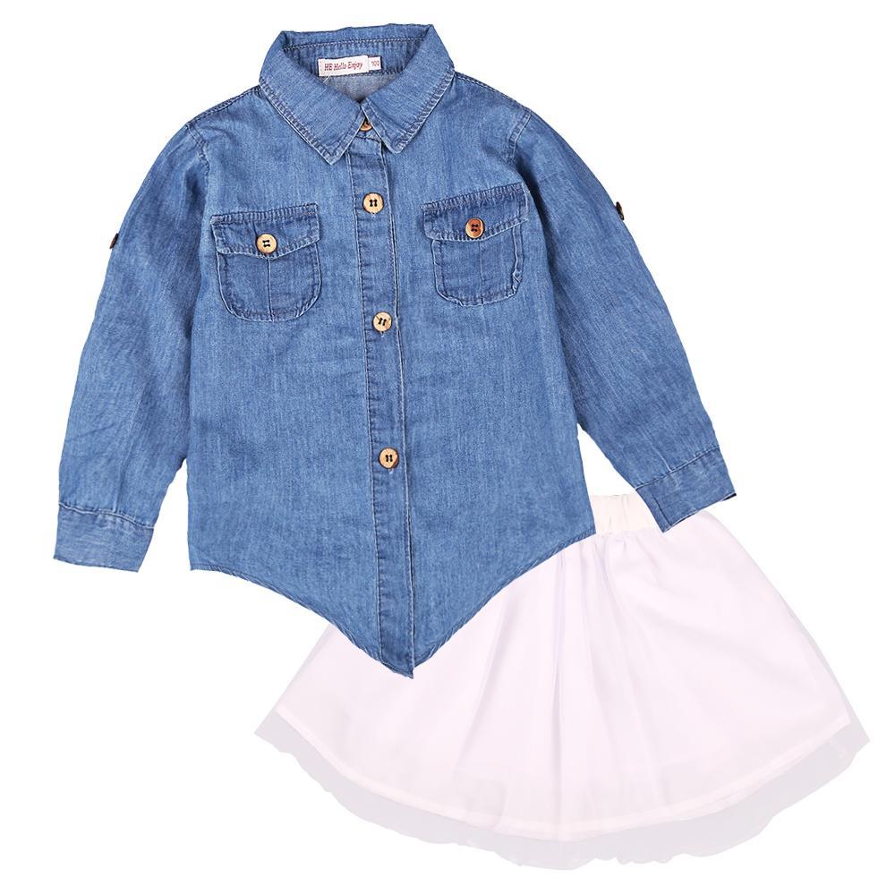 Oi Apreciar Mãe Filha Roupas Set olhar da família Crianças menina mulheres camisa de manga comprida denim + saia tutu roupas combinando