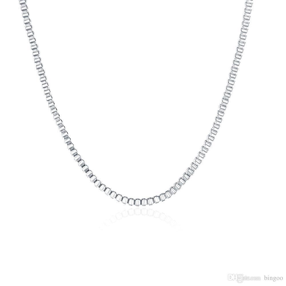 Fashion Jewelry Silver Chain 925 Necklace 2mm Box Chain For Women Girl 16  18 20 22 24 Inches UK 2019 From Bingoo e1e8b4c48c