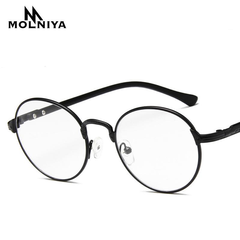 ab01b73ef1258 Compre New Retro Rodada Óculos De Armação Nenhum Grau Espelho Liso Das  Mulheres Dos Homens De Metal Óculos Ópticos Óculos De Computador Espetáculo  Quadro ...
