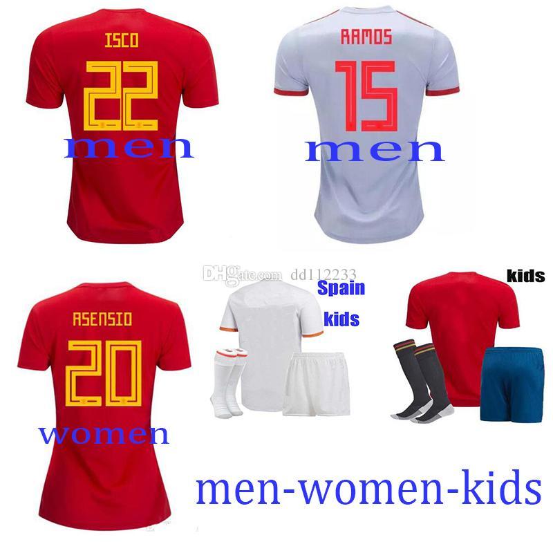 a39d61e23 Newest 2018 Spain Soccer Jersey World Cup Men Women Kids INIESTA ...