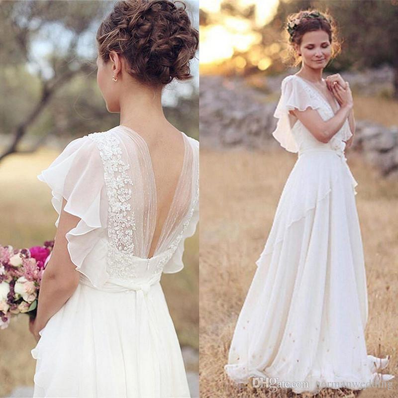 Cheap Wedding Gowns Uk: Discount Vintage Chiffon Beach Wedding Dresses 2018 Ivory