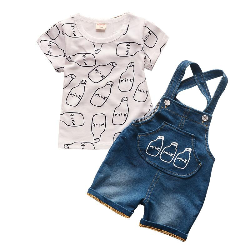 c5523159c544b 2019 BibiCola Summer Boys Clothing Set Kids Tops T Shirt + Jeans Overalls  Sports Suits Set Clothes Baby Boys Tracksuit Set Y1893004 From Shenping01,  ...