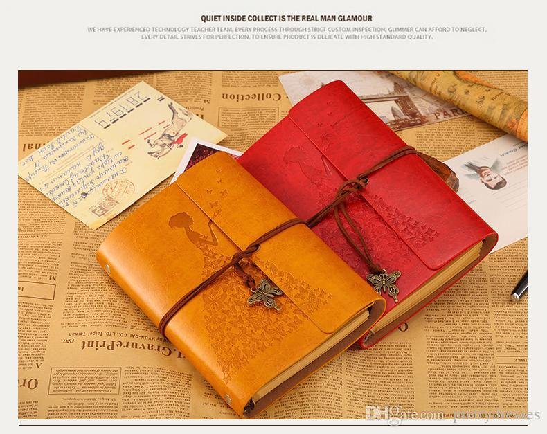 Wholesale A6 Diary Notebook Princess Butterfly Traveler's Note Books Notepad Planner PU Leather Cover Students Notebooks Wedding Gift Favors